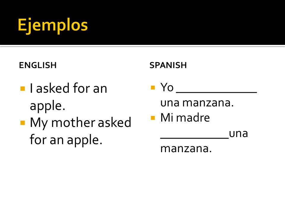 ENGLISH I asked for an apple. My mother asked for an apple. SPANISH Yo _____________ una manzana. Mi madre ___________una manzana.