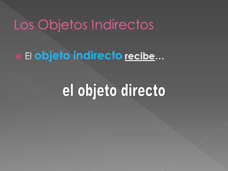 El objeto indirecto recibe…