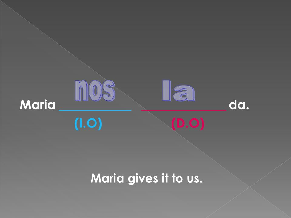 Maria ___________ _____________ da. (I.O) (D.O) Maria gives it to us.