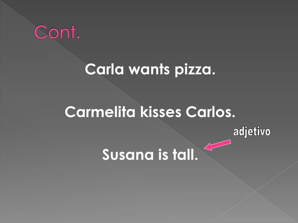 Carla wants pizza. Carmelita kisses Carlos. Susana is tall.