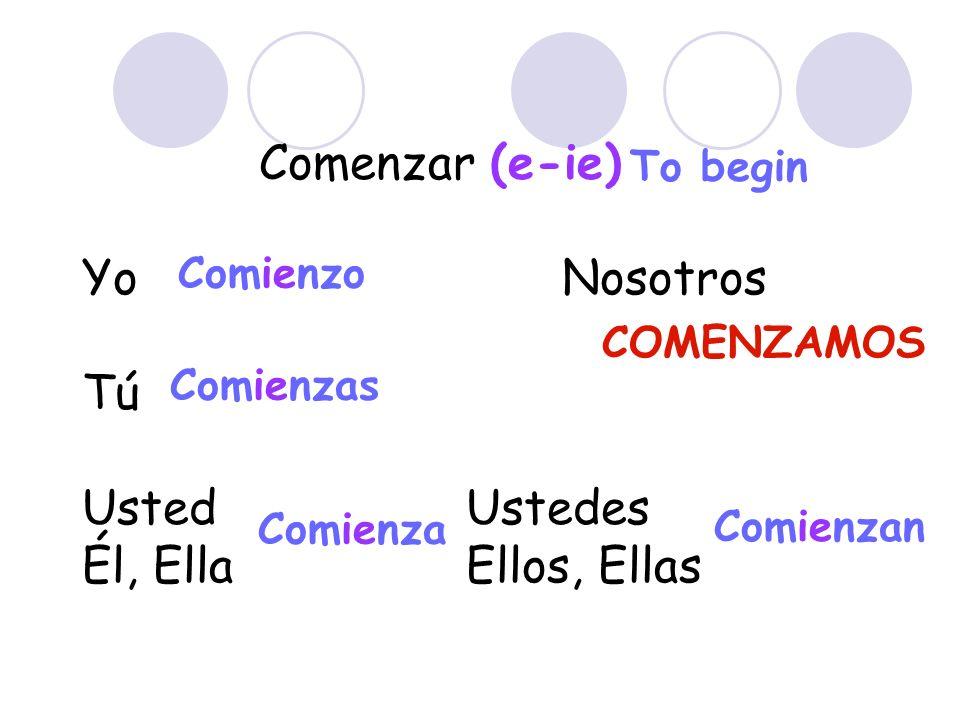 Comenzar (e-ie) Yo Nosotros Tú UstedUstedes Él, EllaEllos, Ellas Comienzo Comienzas Comienza Comienzan To begin COMENZAMOS