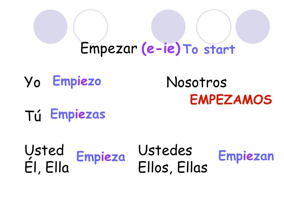 Empezar (e-ie) Yo Nosotros Tú UstedUstedes Él, EllaEllos, Ellas Empiezo Empiezas Empieza EMPEZAMOS Empiezan To start