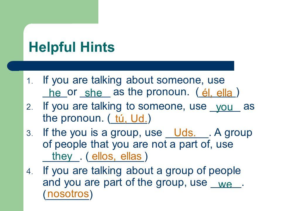 Plural Subject Pronoun We You They Spanish Selecting Pronouns Nosotros Ustedes (Uds.) Ellos, ellas