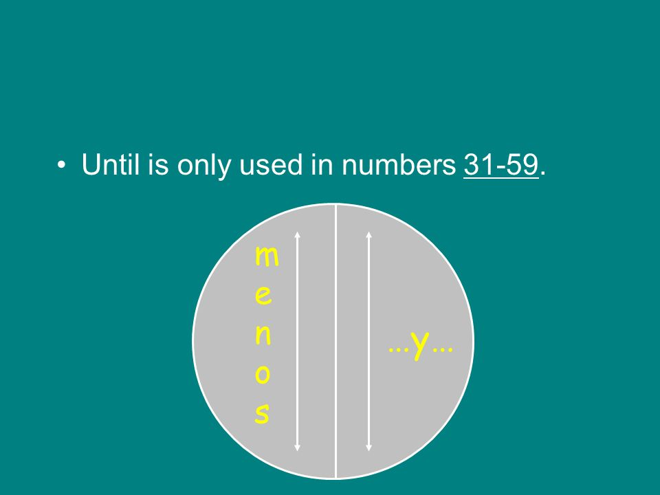 Until is only used in numbers 31-59. …y… menosmenos