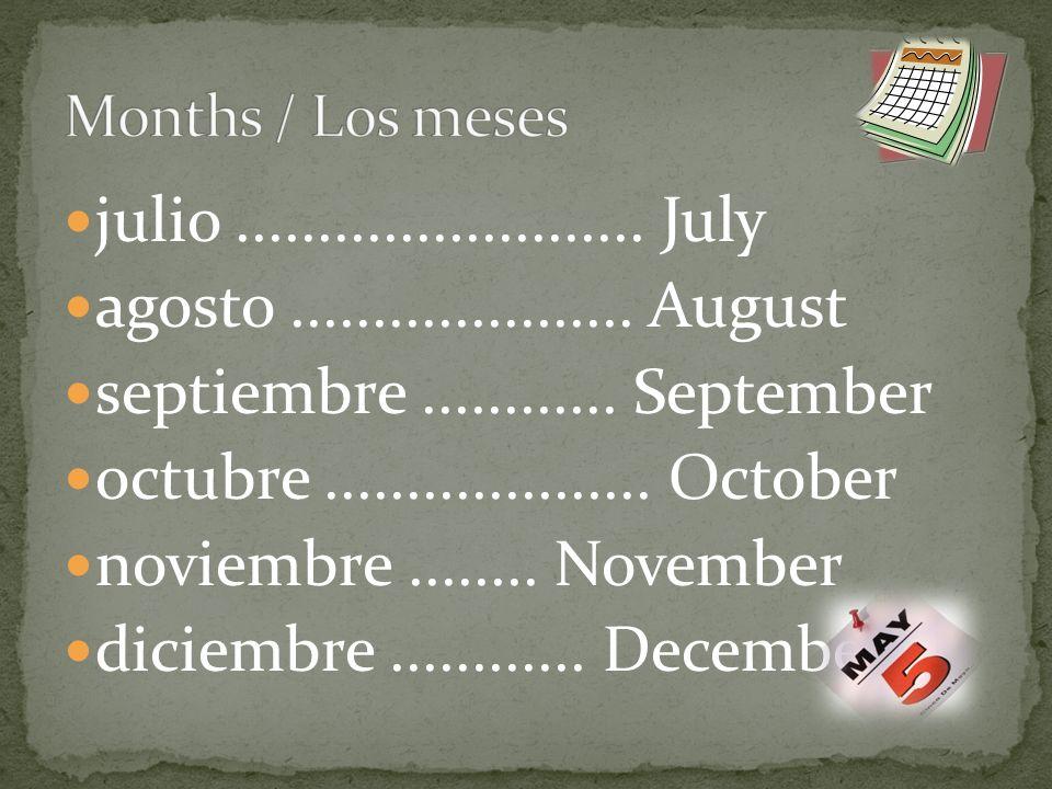 julio......................... July agosto..................... August septiembre............ September octubre.................... October noviembre.
