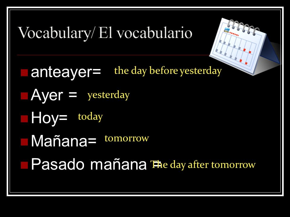 anteayer= Ayer = Hoy= Mañana= Pasado mañana = the day before yesterday yesterday today tomorrow The day after tomorrow