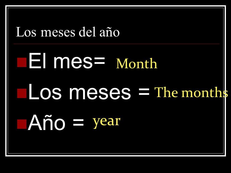 Los meses del año El mes= Los meses = Año = Month The months year