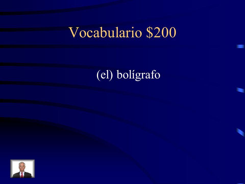 Vocabulario $200 Cómo se dice pen en español?