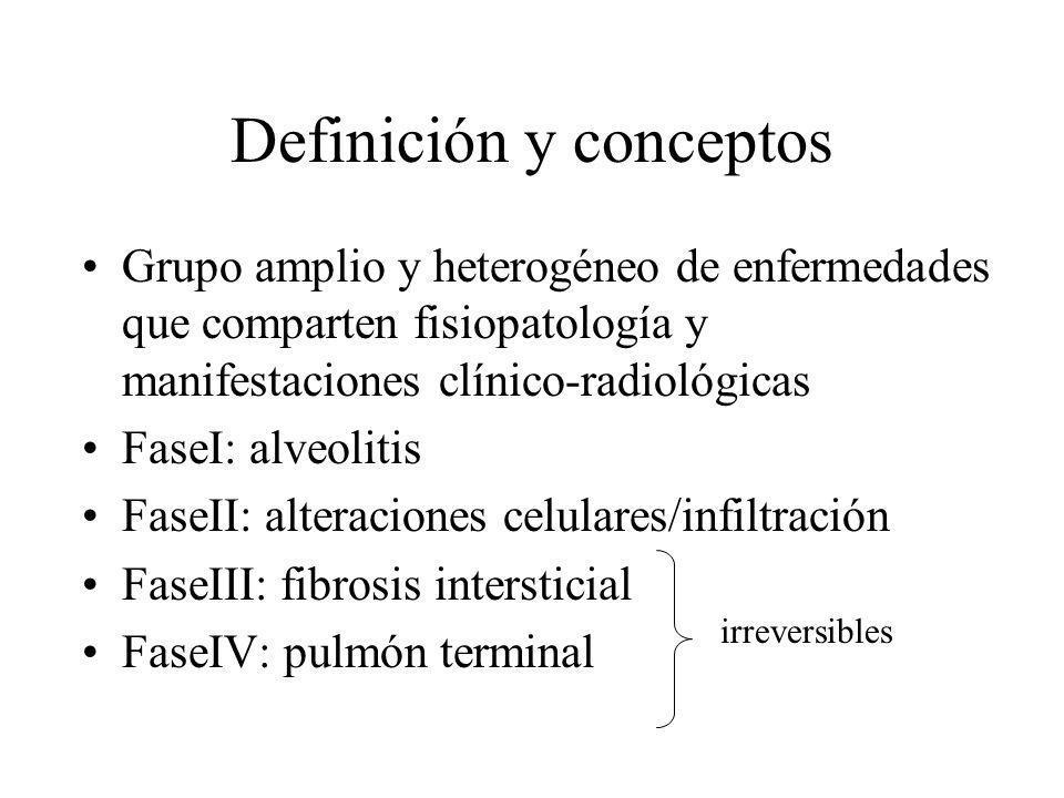 Definición y conceptos Grupo amplio y heterogéneo de enfermedades que comparten fisiopatología y manifestaciones clínico-radiológicas FaseI: alveoliti