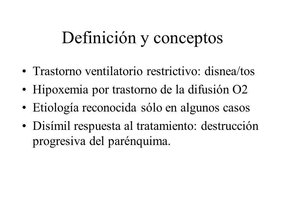 Definición y conceptos Trastorno ventilatorio restrictivo: disnea/tos Hipoxemia por trastorno de la difusión O2 Etiología reconocida sólo en algunos c