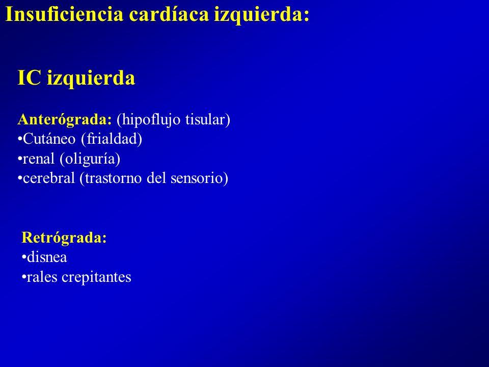 Ingurgitacion yugular hepatomegalia dolorosa ingurgitación yugular edema periférico IC derecha: Sistolica/diastolica