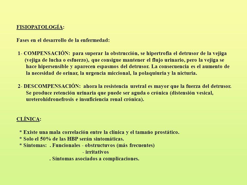 FISIOPATOLOGÍA: Fases en el desarrollo de la enfermedad: 1- COMPENSACIÓN: para superar la obstrucción, se hipertrofia el detrusor de la vejiga (vejiga