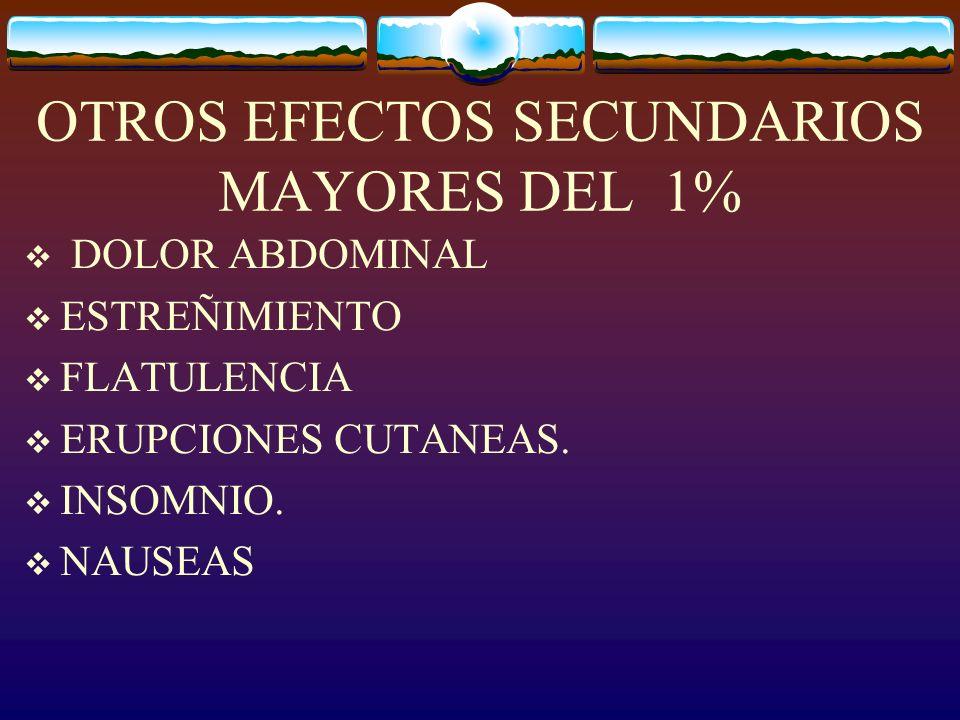 OTROS EFECTOS SECUNDARIOS MAYORES DEL 1% DOLOR ABDOMINAL ESTREÑIMIENTO FLATULENCIA ERUPCIONES CUTANEAS.