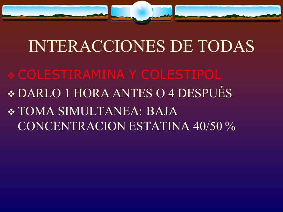 INTERACCIONES DE TODAS COLESTIRAMINA Y COLESTIPOL DARLO 1 HORA ANTES O 4 DESPUÉS TOMA SIMULTANEA: BAJA CONCENTRACION ESTATINA 40/50 %