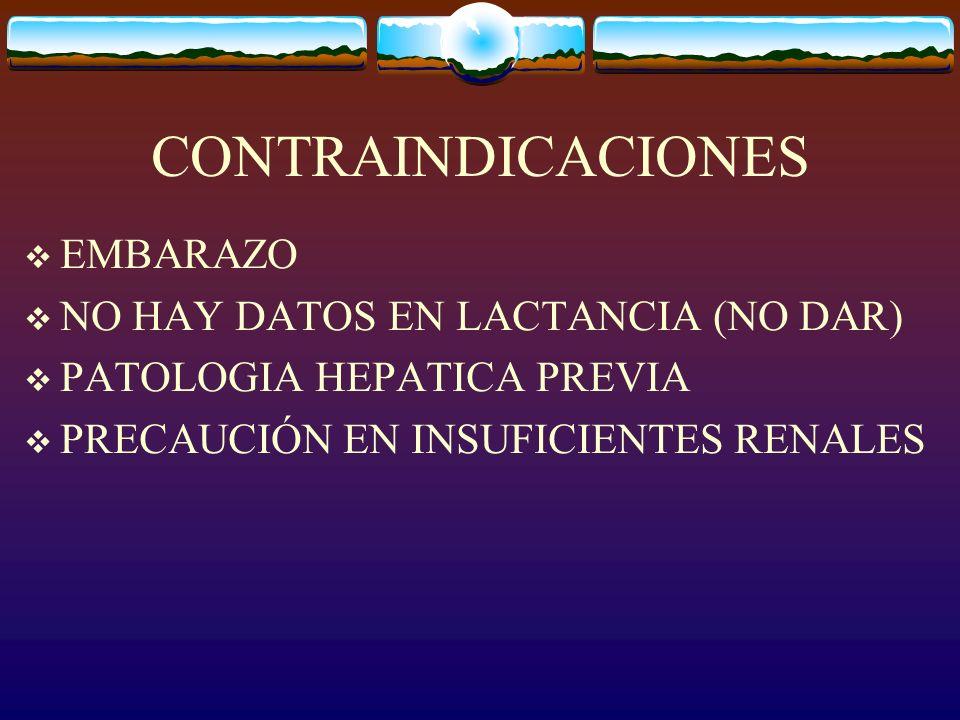 EMBARAZO NO HAY DATOS EN LACTANCIA (NO DAR) PATOLOGIA HEPATICA PREVIA PRECAUCIÓN EN INSUFICIENTES RENALES