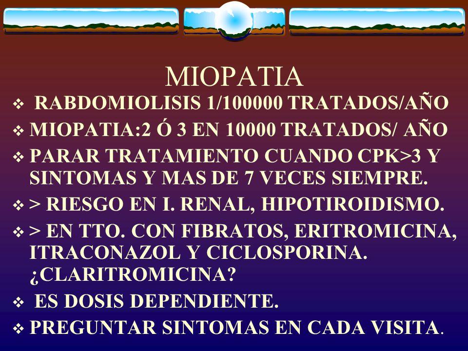 MIOPATIA RABDOMIOLISIS 1/100000 TRATADOS/AÑO MIOPATIA:2 Ó 3 EN 10000 TRATADOS/ AÑO PARAR TRATAMIENTO CUANDO CPK>3 Y SINTOMAS Y MAS DE 7 VECES SIEMPRE.