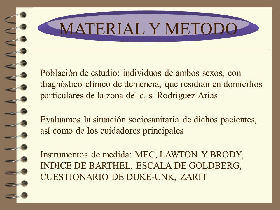 MATERIAL Y METODO Población de estudio: individuos de ambos sexos, con diagnóstico clínico de demencia, que residian en domicilios particulares de la zona del c.