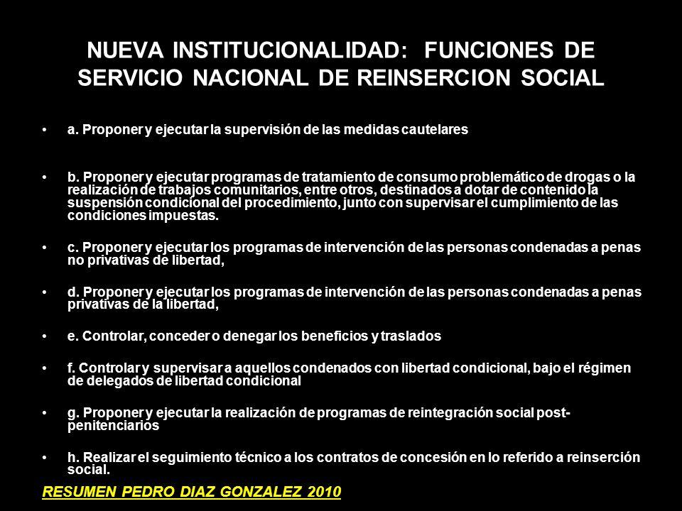 NUEVA INSTITUCIONALIDAD: FUNCIONES DE SERVICIO NACIONAL DE REINSERCION SOCIAL a. Proponer y ejecutar la supervisión de las medidas cautelares b. Propo