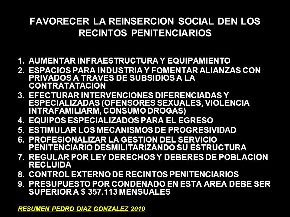 FAVORECER LA REINSERCION SOCIAL DEN LOS RECINTOS PENITENCIARIOS 1.AUMENTAR INFRAESTRUCTURA Y EQUIPAMIENTO 2.ESPACIOS PARA INDUSTRIA Y FOMENTAR ALIANZA
