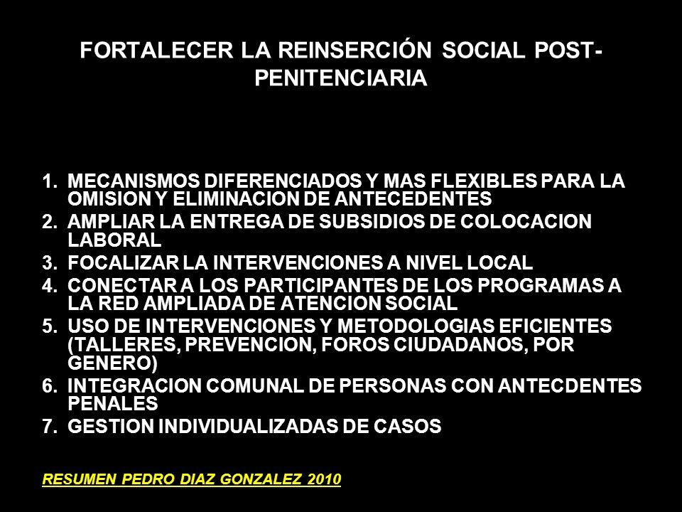 FORTALECER LA REINSERCIÓN SOCIAL POST- PENITENCIARIA 1.MECANISMOS DIFERENCIADOS Y MAS FLEXIBLES PARA LA OMISION Y ELIMINACION DE ANTECEDENTES 2.AMPLIA