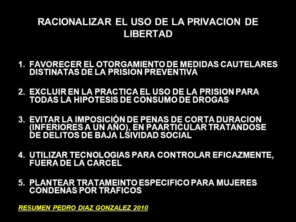 RACIONALIZAR EL USO DE LA PRIVACION DE LIBERTAD 1.FAVORECER EL OTORGAMIENTO DE MEDIDAS CAUTELARES DISTINATAS DE LA PRISION PREVENTIVA 2.EXCLUIR EN LA