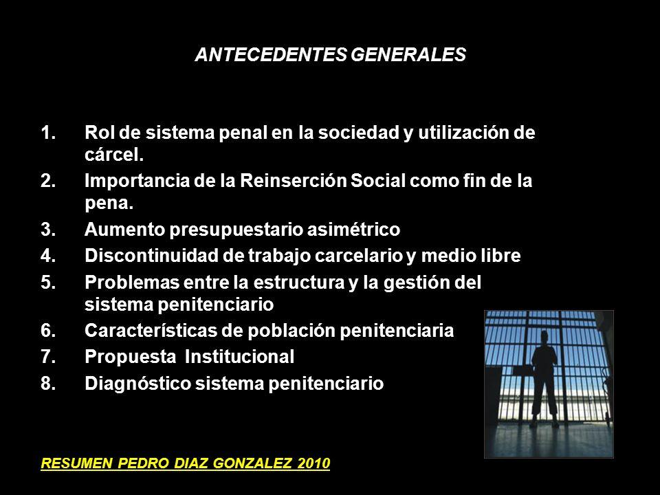 ANTECEDENTES GENERALES 1.Rol de sistema penal en la sociedad y utilización de cárcel. 2.Importancia de la Reinserción Social como fin de la pena. 3.Au