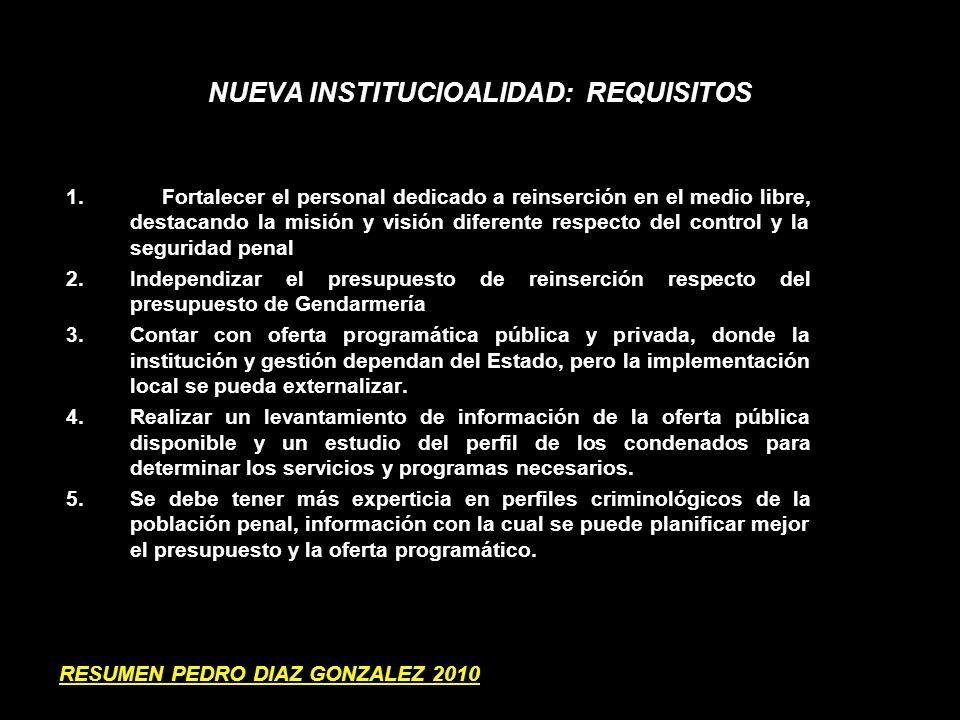 FORTALECER LA REINSERCIÓN SOCIAL POST- PENITENCIARIA 1.MECANISMOS DIFERENCIADOS Y MAS FLEXIBLES PARA LA OMISION Y ELIMINACION DE ANTECEDENTES 2.AMPLIAR LA ENTREGA DE SUBSIDIOS DE COLOCACION LABORAL 3.FOCALIZAR LA INTERVENCIONES A NIVEL LOCAL 4.CONECTAR A LOS PARTICIPANTES DE LOS PROGRAMAS A LA RED AMPLIADA DE ATENCION SOCIAL 5.USO DE INTERVENCIONES Y METODOLOGIAS EFICIENTES (TALLERES, PREVENCION, FOROS CIUDADANOS, POR GENERO) 6.INTEGRACION COMUNAL DE PERSONAS CON ANTECDENTES PENALES 7.GESTION INDIVIDUALIZADAS DE CASOS RESUMEN PEDRO DIAZ GONZALEZ 2010