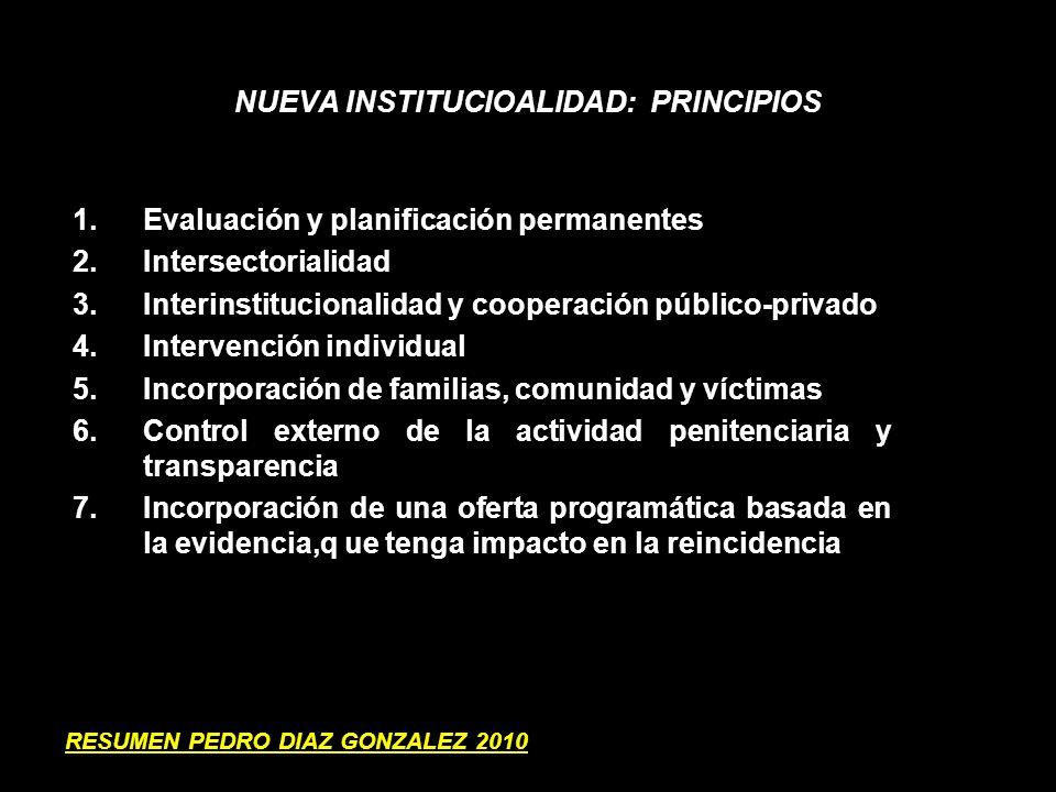 NUEVA INSTITUCIOALIDAD: PRINCIPIOS 1.Evaluación y planificación permanentes 2.Intersectorialidad 3.Interinstitucionalidad y cooperación público-privad