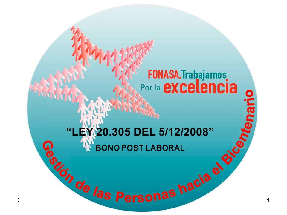 26/03/20091 Por la LEY 20.305 DEL 5/12/2008 BONO POST LABORAL