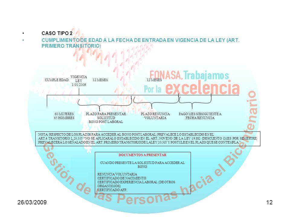 26/03/200912 CASO TIPO 2 CUMPLIMIENTO DE EDAD A LA FECHA DE ENTRADA EN VIGENCIA DE LA LEY (ART. PRIMERO TRANSITORIO) VIGENCIA LEY 1/01/2009 CUMPLE EDA