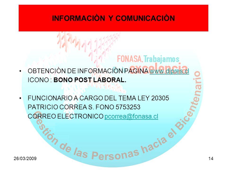 26/03/200914 INFORMACIÒN Y COMUNICACIÒN OBTENCIÒN DE INFORMACIÒN PAGINA www.dipres.clwww.dipres.cl ICONO : BONO POST LABORAL. FUNCIONARIO A CARGO DEL