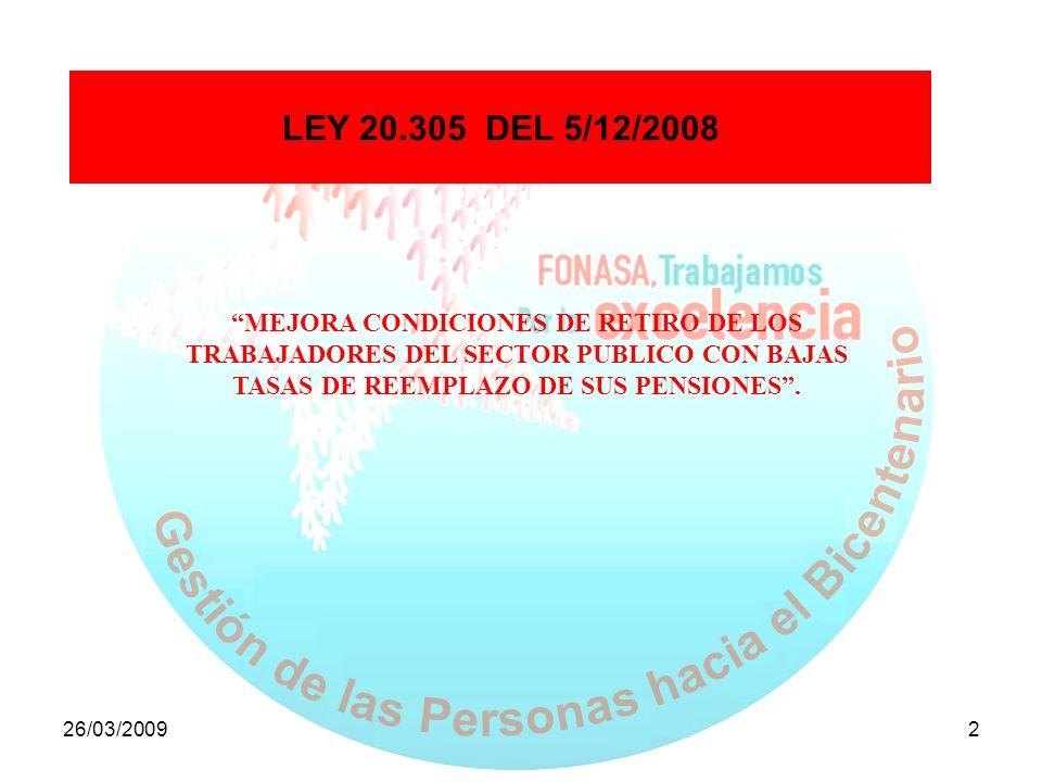26/03/20092 LEY 20.305 DEL 5/12/2008 MEJORA CONDICIONES DE RETIRO DE LOS TRABAJADORES DEL SECTOR PUBLICO CON BAJAS TASAS DE REEMPLAZO DE SUS PENSIONES