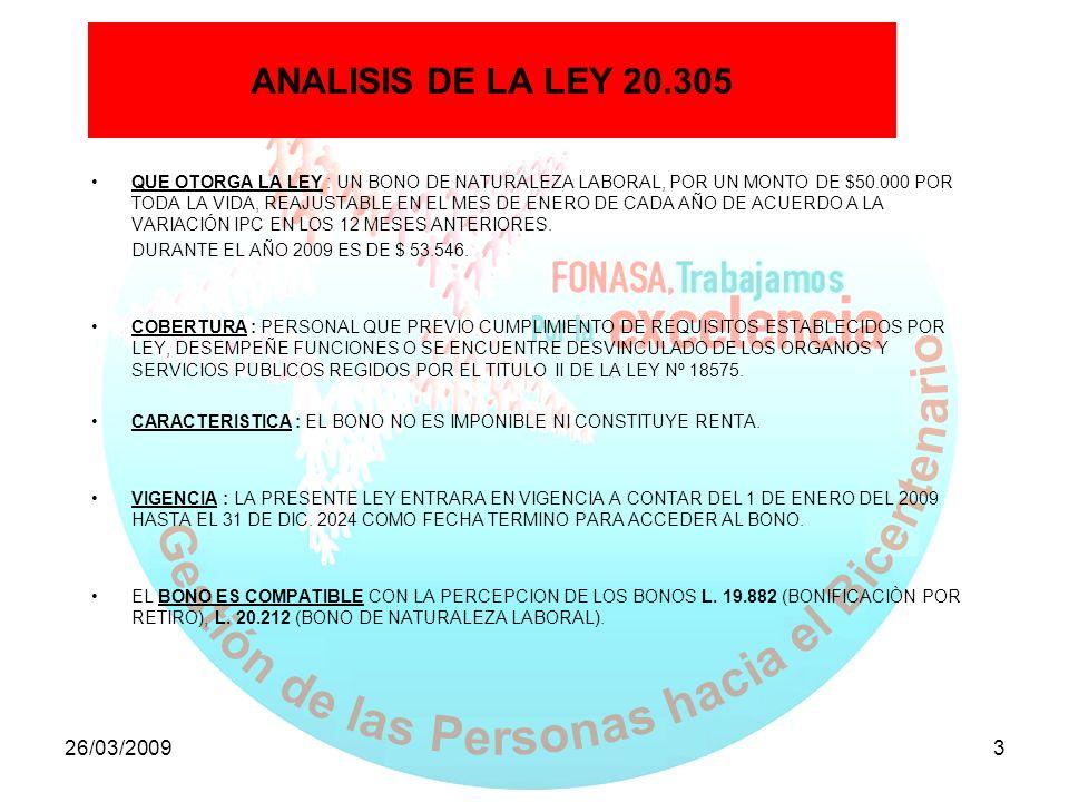 26/03/20093 ANALISIS DE LA LEY 20.305 QUE OTORGA LA LEY : UN BONO DE NATURALEZA LABORAL, POR UN MONTO DE $50.000 POR TODA LA VIDA, REAJUSTABLE EN EL M
