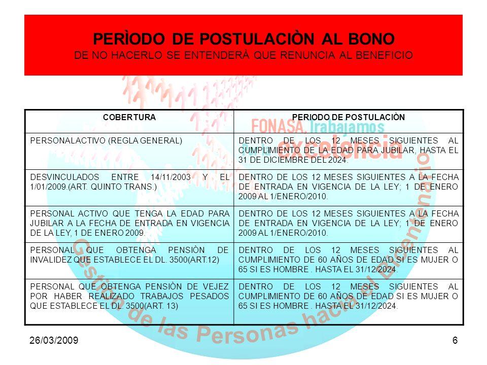 26/03/20096 PERÌODO DE POSTULACIÒN AL BONO DE NO HACERLO SE ENTENDERÀ QUE RENUNCIA AL BENEFICIO COBERTURAPERIODO DE POSTULACIÒN PERSONAL ACTIVO (REGLA