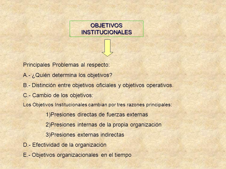 Principales Problemas al respecto: A.- ¿Quién determina los objetivos? B.- Distinción entre objetivos oficiales y objetivos operativos. C.- Cambio de