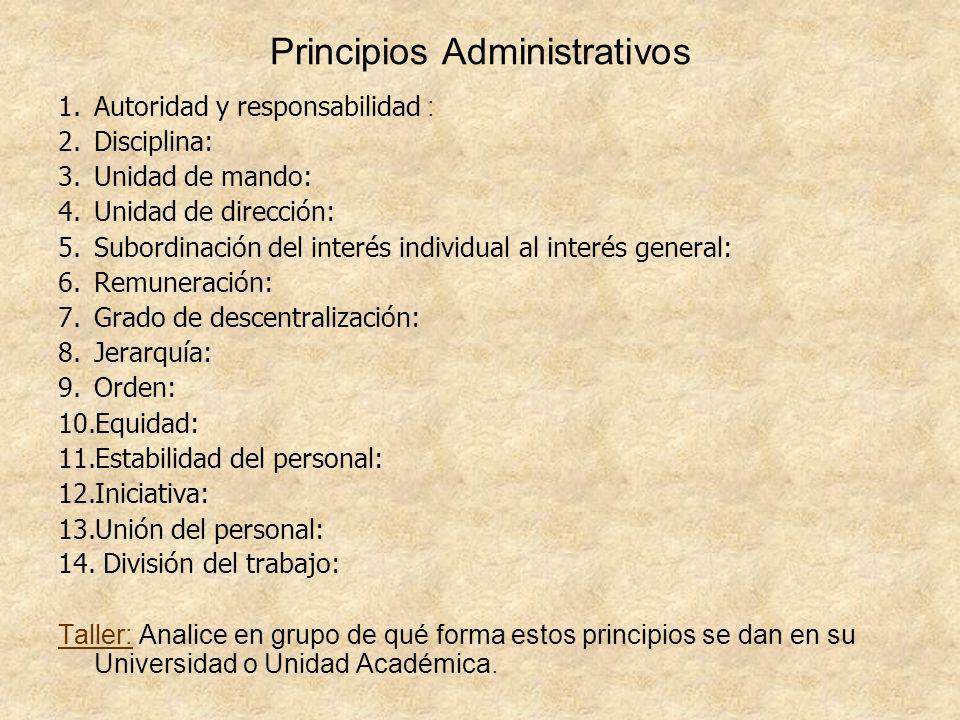 Principios Administrativos 1.Autoridad y responsabilidad : 2.Disciplina: 3.Unidad de mando: 4.Unidad de dirección: 5.Subordinación del interés individ