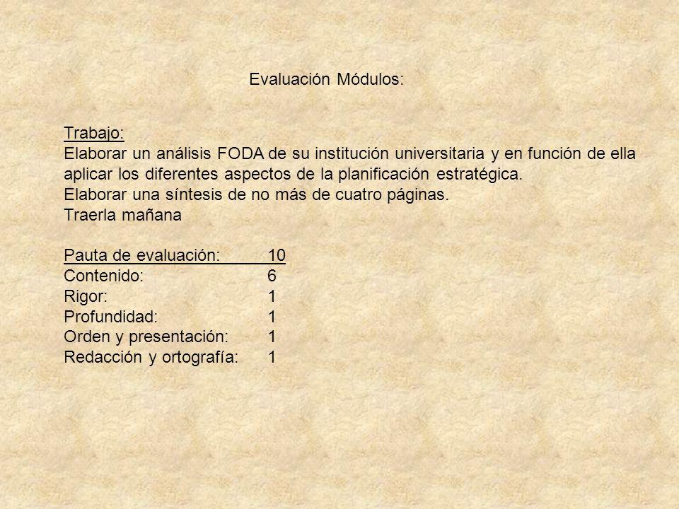 Evaluación Módulos: Trabajo: Elaborar un análisis FODA de su institución universitaria y en función de ella aplicar los diferentes aspectos de la plan