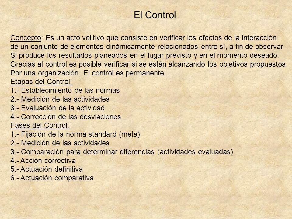 El Control Concepto: Es un acto volitivo que consiste en verificar los efectos de la interacción de un conjunto de elementos dinámicamente relacionado