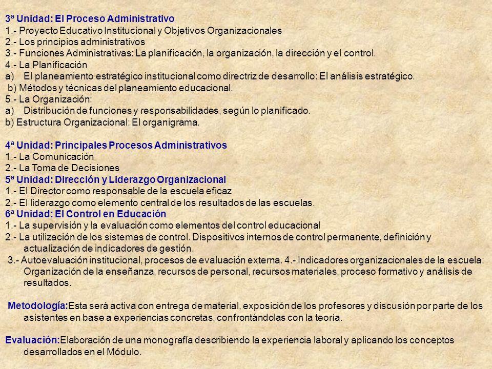 3ª Unidad: El Proceso Administrativo 1.- Proyecto Educativo Institucional y Objetivos Organizacionales 2.- Los principios administrativos 3.- Funcione