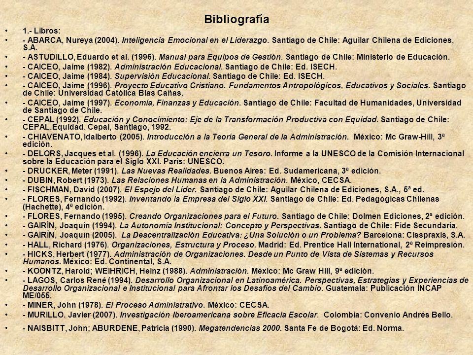 Bibliografía 1.- Libros: - ABARCA, Nureya (2004). Inteligencia Emocional en el Liderazgo. Santiago de Chile: Aguilar Chilena de Ediciones, S.A. - ASTU