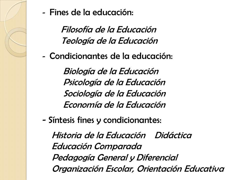 - Fines de la educación: Filosofía de la Educación Teología de la Educación - Condicionantes de la educación: Biología de la Educación Psicología de l