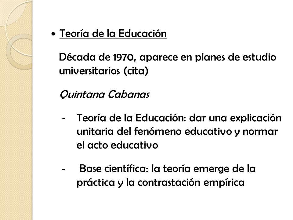 Teoría de la Educación Década de 1970, aparece en planes de estudio universitarios (cita) Quintana Cabanas - Teoría de la Educación: dar una explicaci