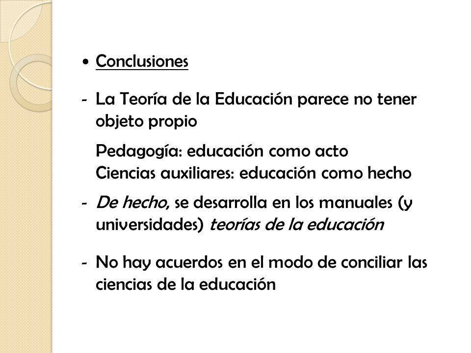 Conclusiones - La Teoría de la Educación parece no tener objeto propio Pedagogía: educación como acto Ciencias auxiliares: educación como hecho - De h