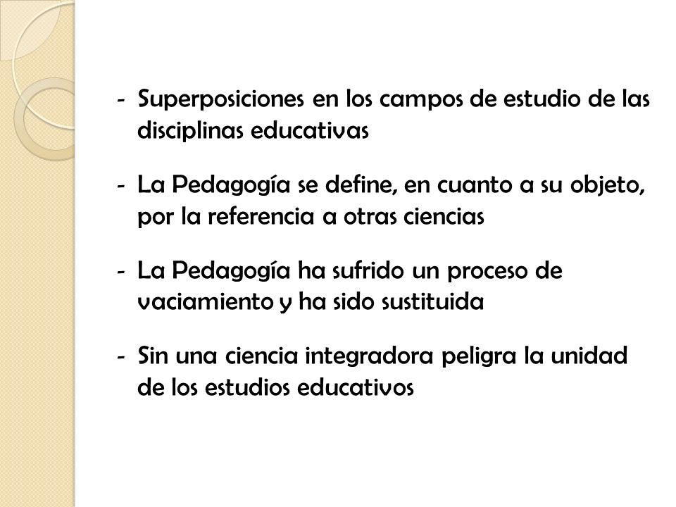 - Superposiciones en los campos de estudio de las disciplinas educativas - La Pedagogía se define, en cuanto a su objeto, por la referencia a otras ci