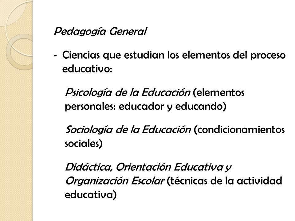 Pedagogía Diferencial - Ciencias que tienen por objeto una unidad pedagógica concreta: Educación infantil, educación de adultos, educación especial, educación primaria, educación universitaria Pedagogía familiar, escolar, ambiental Pedagogía Comparada (sintetiza las manifestaciones educativas en un contexto social)
