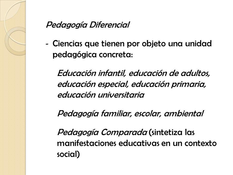 Pedagogía Diferencial - Ciencias que tienen por objeto una unidad pedagógica concreta: Educación infantil, educación de adultos, educación especial, e