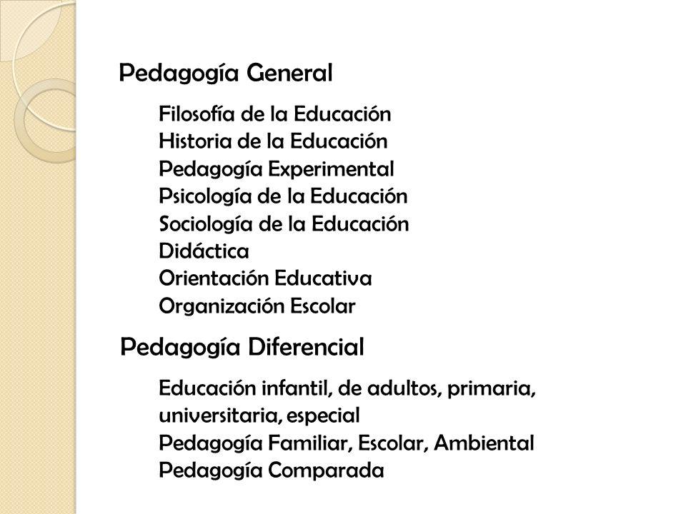 Pedagogía General Filosofía de la Educación Historia de la Educación Pedagogía Experimental Psicología de la Educación Sociología de la Educación Didá