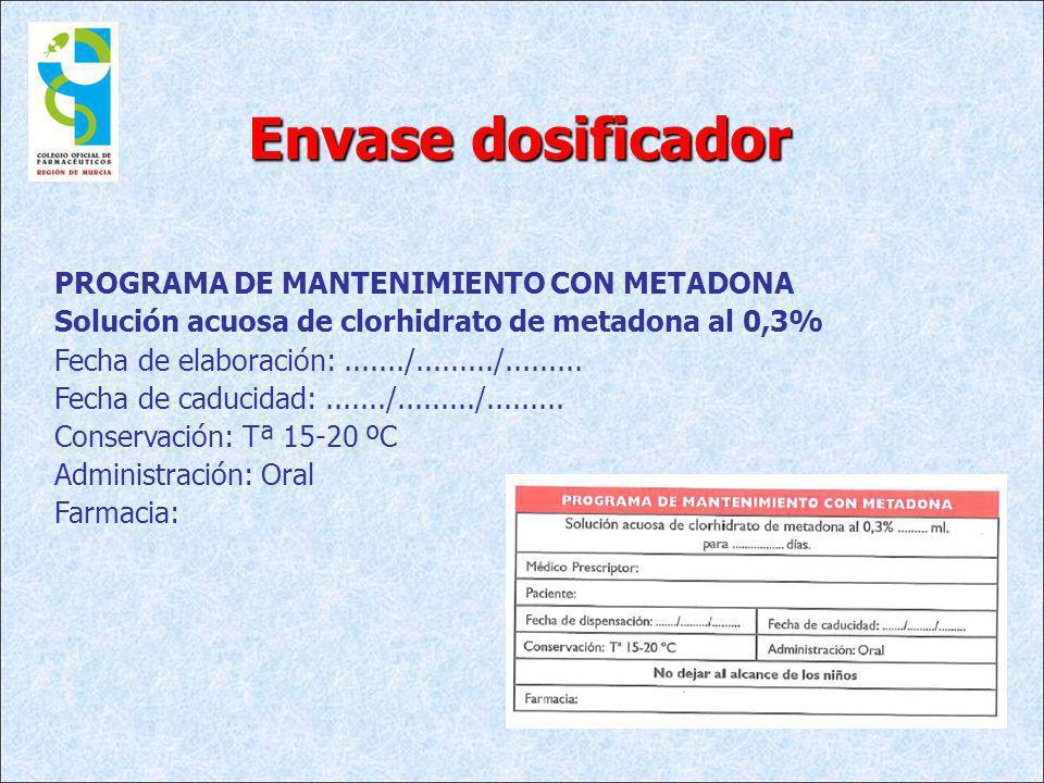 PROGRAMA DE MANTENIMIENTO CON METADONA Solución acuosa de clorhidrato de metadona al 0,3% Fecha de elaboración:......./........./......... Fecha de ca