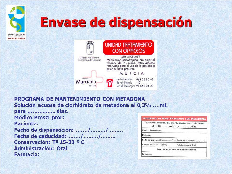 Envase de dispensación PROGRAMA DE MANTENIMIENTO CON METADONA Solución acuosa de clorhidrato de metadona al 0,3%....ml. para................. días. Mé