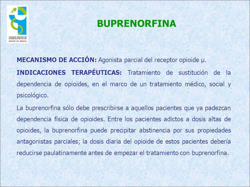BUPRENORFINA MECANISMO DE ACCIÓN: Agonista parcial del receptor opioide µ. INDICACIONES TERAPÉUTICAS: Tratamiento de sustitución de la dependencia de